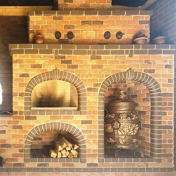 Кирпичный барбекю комплекс с тандыром и казанной печью